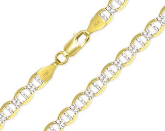 """10K Solid Yellow Gold White Pave Mariner Necklace Chain 8.0mm 22-30"""" - Diamond Cut Anchor Link"""