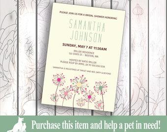Bridal Shower Invitation, Custom Bridal Shower Invitation, Print/Digital Wedding Shower Invite - Dandelion Theme