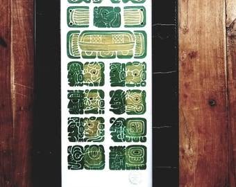 Vintage Hand Painted Mayan Calendar, Chichen Itza, Mexican art, Mexican indian art, Mayan art