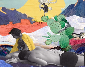 Crystal Winter, displays of colorful collage, lovers of the desert