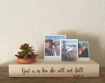 God Is In her She Will Not Fall // Wood Photo Blocks // Wood Photo Holder // Succulent Planter