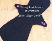Extra Long Cloth Pad/Post Partum Pad/Overnight Pad/Cloth Menstrual Pad/Stay Dry Menstrual Pad/Reusable Pad/Incontinence Pad/Mama Cloth Pad