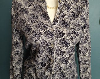 Navy floral sweater, cardigan sweater, spring sweater, lightweight sweater, size XS sweater,