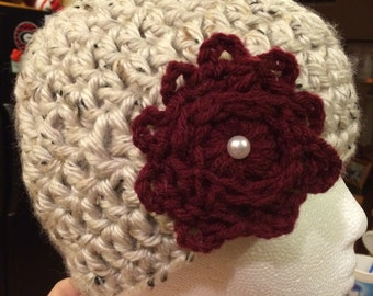 Beige Hat with Maroon Flower and Pearl Button