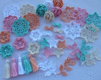 Kit crochet elements for scrapbooking/sewing/cardmaking