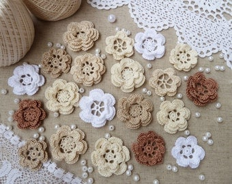 20 crochet flowers/flowers for headband/flowers for sewing/flowers for scrapbooking.Vintage Flowers