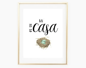 Mi casa es su casa, Printable Wall Art Spanish Prints Spanish Quotes, My home is your home, Spanish Wall Art, Printable Home Decor
