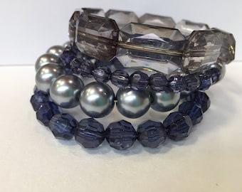 Navy and silver memory bracelet