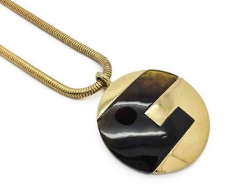 1977 GIVENCHY Vintage Gilt Logo Necklace