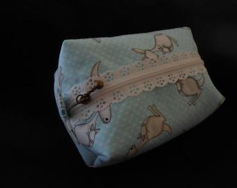 Fancy Roo pouch, Roo Mini pouch, Roo Mini cosmetic case, Kangaroo Lace zipper pouch, Mini Kangaroo zipper case, Mini kangaroo organizer