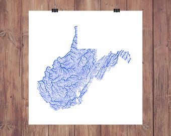 West Virginia Map - High Res Map of West Virginia Rivers / West Virginia Print / West Virginia Art / West Virginia Gift / WVU Graduation