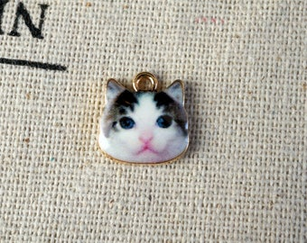 Cat face 3 charms gold jewellery supplies C173