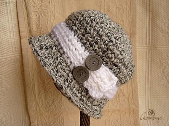 Peggy's Cloche, Black and White Cloche with Button, Grey Hat, Classic Woman's Cloche, Romantic Cloche, Flapper Hat, Boho Cloche, Fashion Hat
