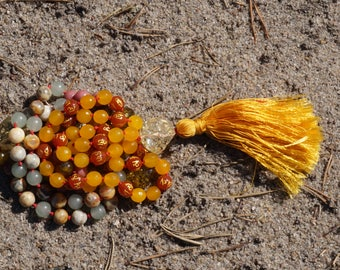 Agate, Lace Agate, Aventurine, Amber, Rhodonite, Yellow Topaz, Blood Stone, 108+1 bead mala