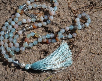 Faceted Blue Dragon Veins Agate,Rock Crystal,Silver Wing,Silver Dolphin, 108 bead Mala