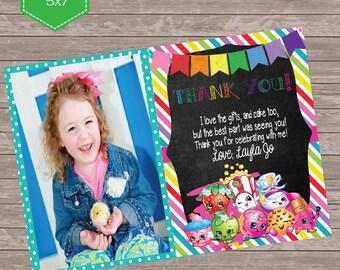 Shopkin themed rainbow birthday themed Thank you card, Birthday Thank you with photo   - printable 5x7