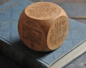 vintage wood prayer cube, German children prayer cube