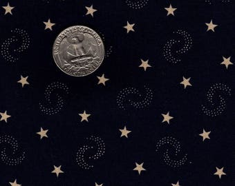 Judie Rothermel Stars and dotted Half Moons on Blue OOP Quilters Fat Eighth