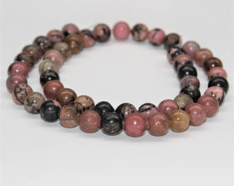 Rhodonite Gemstone Round Loose beads 6/8/10mm