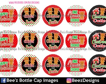 33% off SALE- Happy Holiday Cookies- INSTANT DOWNLOAD- 1 inch Bottlecap Images