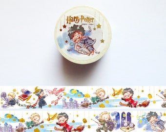 Harry Potter Washi Tape, Hogwarts Quidditch Washi Roll, Draco Malfoy, Gold Foil Deco Tape
