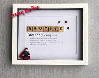 Personalised Brother or Sister Scrabble Lego Frame
