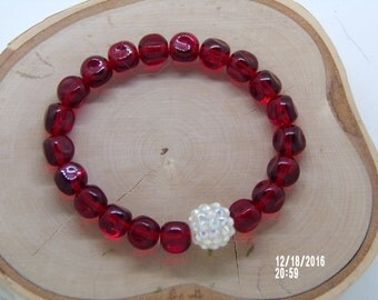B1284  Red Glass Beaded Bracelet with small Glass Connector.