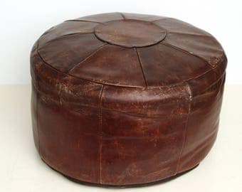 Vintage brown leather patchwork footstool 50 cm, 1970s