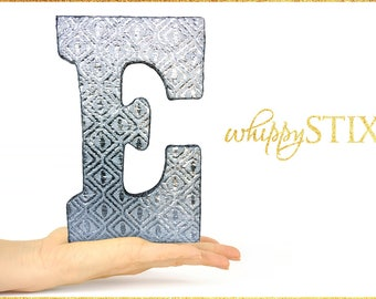 Shiny Silver Foil Fabric Monogram Letter E 9 Alphabet Home
