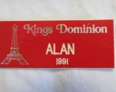 Virginia Kings Dominion 1991 Red Employee Name Tag with Eiffel Tower Paramount Pictures Cedar Fair Amusement Theme Park