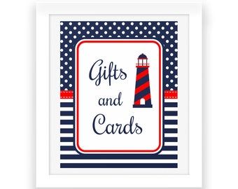 Nautical Party Printables Gifts and Cards -  Red White Blue - Baby Shower Decorations - Nautical Baby Shower Sign - Baby Party Printables