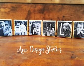 Personalized Custom Wood  letter Photo Blocks, Personalized Home Decor, Personalized, Photo Christmas Gift, Personalized gift, Photo Gift