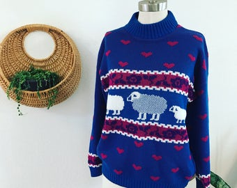 Vintage - 1980s - I don't give a Sheep - Vintage Sweater - Black Sheep Sweater