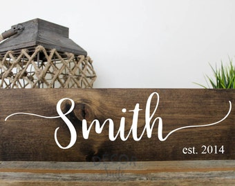 "Custom Last Name Sign| Wedding Gift| Housewarming Gift| Painted Wood Sign| Custom Wood Sign| Rustic Home Decor| Farmhouse Decor| 18"" x 5""5"