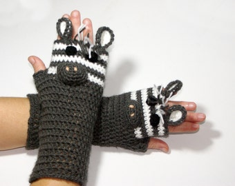 "50% OFF Crochet Gloves: ""ANIMAL GLOVES"" Fingerless Black zebra Gloves Hand Warmers Hand Knit Black Zebra Mittens Winter accessory A163"