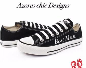 Custom Converse, Best Man  converse,Wedding converse, Personalized Converse,  Low Top Converse, Men's Wedding Shoes Converse Custom