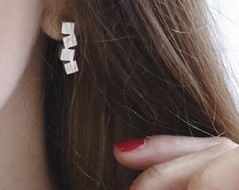 Silver earrings-cubes