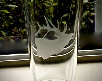 Elk etched pint glasses