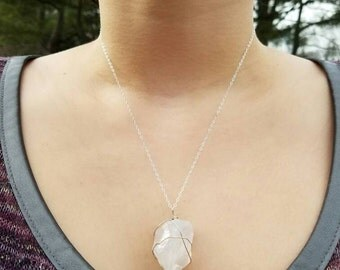 Quartz Wire Wrapped Necklace on Sterling Silver Chain