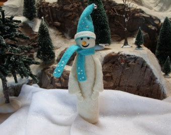 Handcrafted Needle Felted Wool Christmas Doll - Tall Snowman