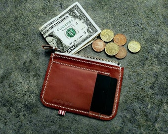 Zip cardholder wallet · British sun tanned cowhide vegetable tanned leather