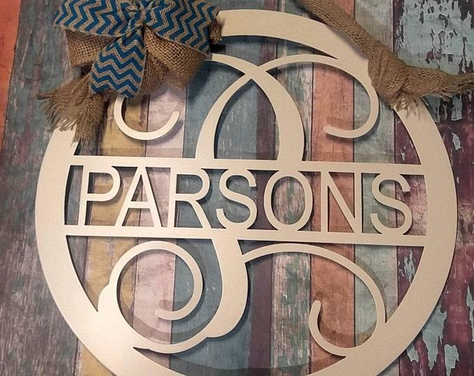 Door Hanger, Door Wreath, Wedding Gift, Front Door Decor, Metal Sign, Monogram Front Door Sign, Metal Family Name Sign, Last Name Sign