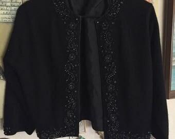 Beaded black cropped cardigan