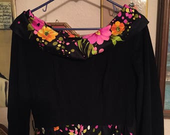 Vintage floral boatneck dress