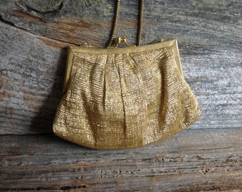 Vintage Goldco Gold Evening Pouch Bag Convertible Clutch wedding/bridal/prom/special occasion/party