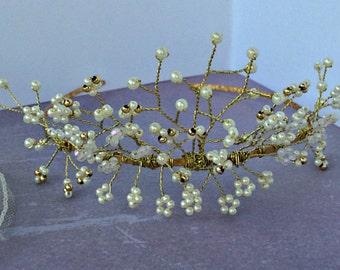 Gold & Pearl tiara, wedding hair accessories.