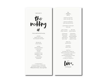 MODERN HANDWRITTEN printable Wedding program,simple Long program,minimal ceremony program,order of events,order of service,Order of Ceremony