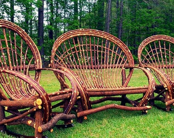 Three Piece Furniture Set ~ One handcrafted Willow Loveseat and 2 Rockers  ~ Sombrero Style **