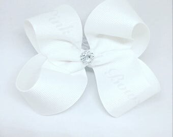 White bow, bows for girls, 4 inch Hair Bows, Baby Bows, Toddler Bows, Hair Bows with Clips, Baby Hair Bows, Toddler Hair Bows