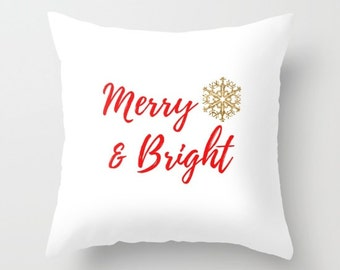 Christmas Pillows with Sayings, Christmas Decor Pillows, Christmas Pillow Cover, Gold Pillow Cases, Snow Flakes Pretty, Typography